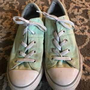 Mint green converse with grey stripe